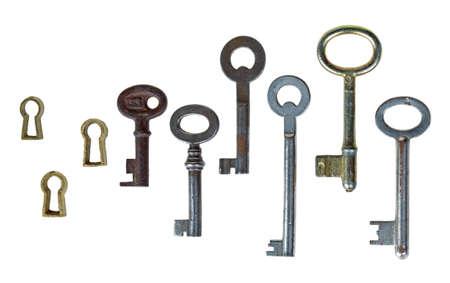 Retro keys and keyhole isolated on white