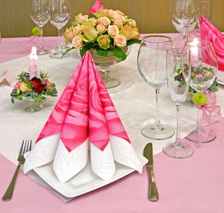 Wedding table decorated with bouquet and candles Stock Photo - 4560282