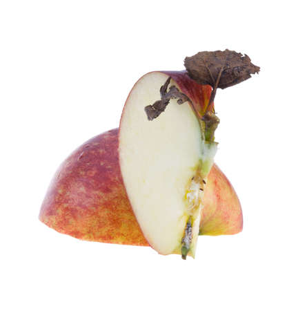 Red apple with dry leaf isolated. photo