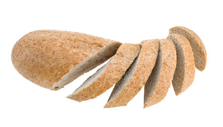 Cuted wheat bread isolated on white. photo