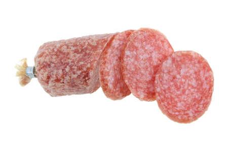 Cut salami isolated on white.  Stock Photo