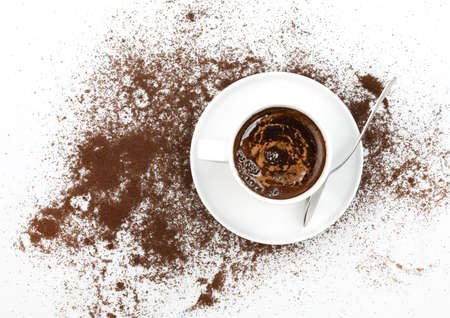 A cup of coffee and coffee sprinkle