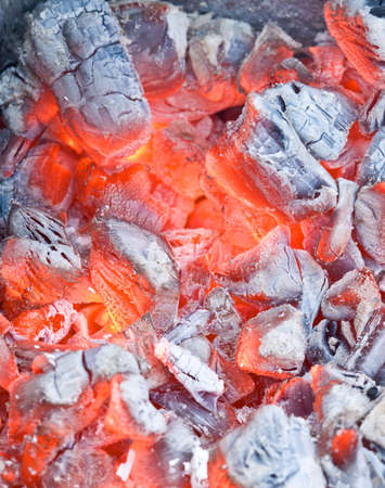 Macro shot of burning coal Stock Photo