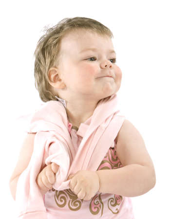 Child with pink jacket. Isolated on white Stock Photo - 4834448