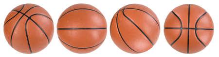 balon baloncesto: Cuatro bolas de baloncesto aislados. Máscaras de recorte