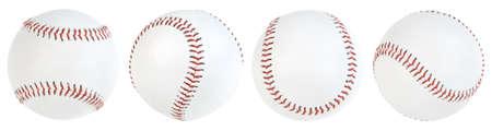 Vier Baseball Ball isoliert. Clipping-Pfade
