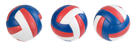 Three volleyball ball isolated. paths Stock Photo