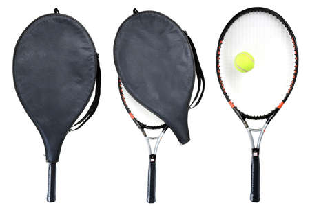 Three tennis rackets isolated on white.