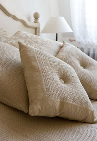 Decorative pillow on a bed in a bedroom Stock Photo - 5421422