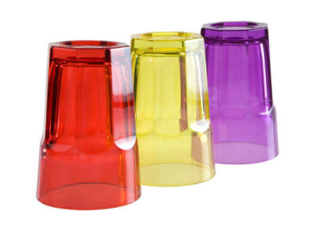 glases: Three colored glases isolated.