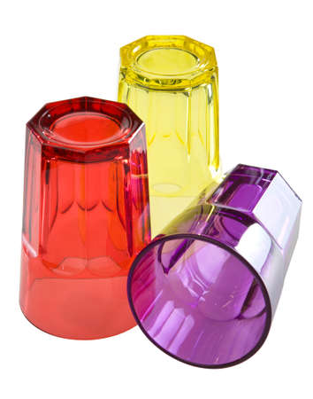 glases: Three colored glases isolated. Stock Photo
