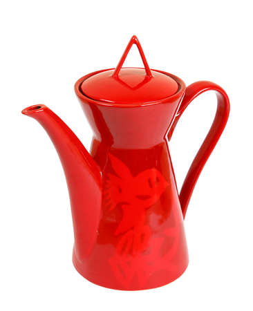 coffeepot: Red modern coffeepot isolated
