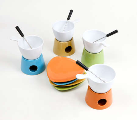 Fondue set for four, isolated photo