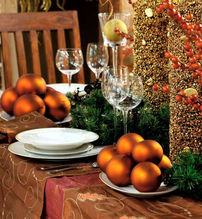 Christmas table decoration. Dishware, decorations and more Stock Photo - 5893344