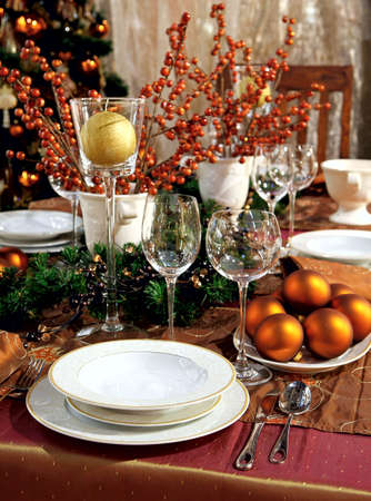 Christmas table decoration. Dishware, decorations and more