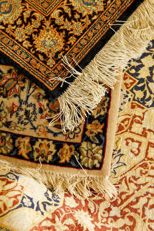 Oriental ornate carpet. Persian hand made photo