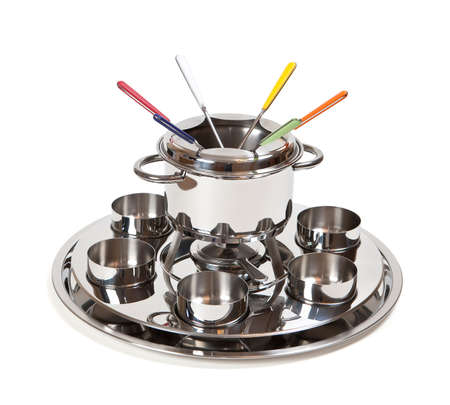 Fondue set for six, isolated. Clipping path photo