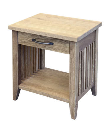 Oak bedside with drawer isolated. Handmade. Clipping path
