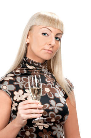 Blonde woman in flowered dress with glass of wine isolated Stock Photo - 6089718