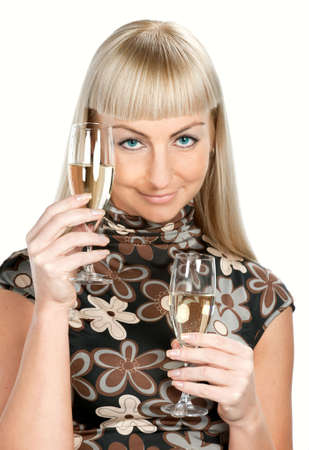 Blonde woman in flowered dress with two glasses of wine isolated Stock Photo - 6089734