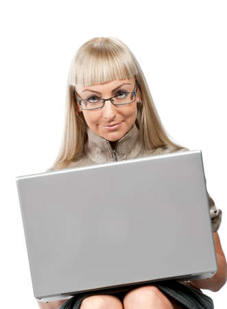 Women with laptop isolated. Blonde in ochra dress Stock Photo - 6089728
