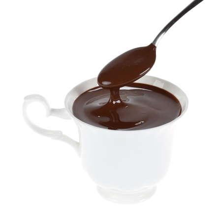 Wei�e Tasse hei�er Schokolade, die isoliert. Beschneidungspfad  Lizenzfreie Bilder