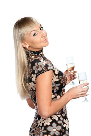 Blonde woman in flowered dress with two glasses of wine isolated photo
