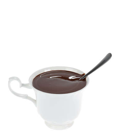 White cup of hot chocolate isolated. Clipping path Stock Photo