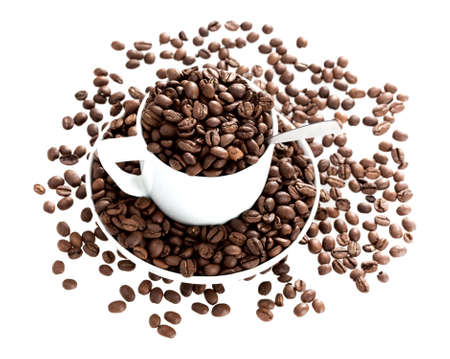 Roasted coffee beans in the white cup on white background