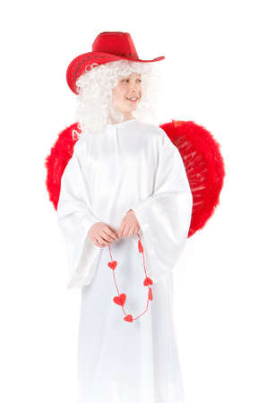 peruke: Angel with red wings holding hearts isolated Stock Photo