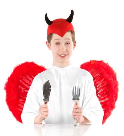 Devil with red wings isolated on white photo