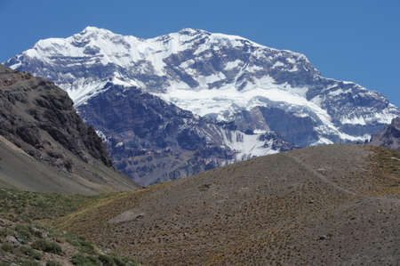 aconcagua: south wall of Aconcagua mountain on argentinas andes Stock Photo