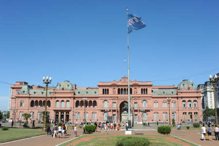 Casa Rosada on Plaza de Mayo at Buenos Aires Stock Photo