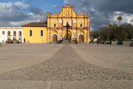 Cathedral of San Cristobal de las Casas on Chiapas Stock Photo