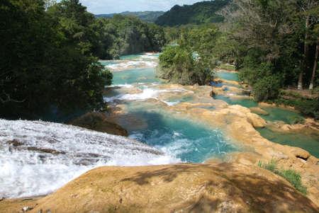 waterfall at Agua Azul on Chiapas