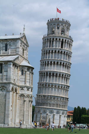 inclined: inclined  tower of Pisa on Toscany