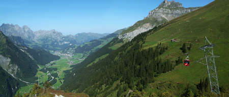 Cable way at renalp near Engelberg on Swiss alps photo