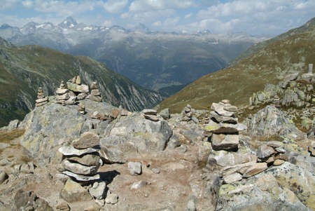 valais: view over Valais mountain from the pass of Novena