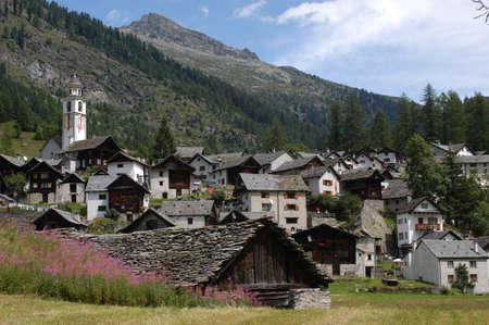 the village of Bosco Gurin on Maggia valley Stock Photo