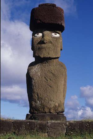 Moai dell'Isola di Pasqua Archivio Fotografico - 11208813