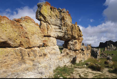 La roccia fenetre su Isalo National Park, Madagascar Archivio Fotografico
