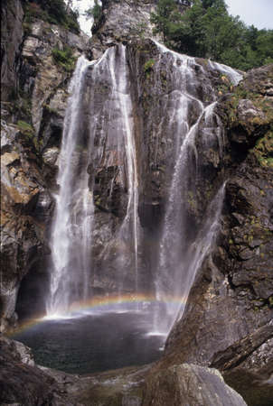 waterfall of Maggia on Maggia Valley  photo