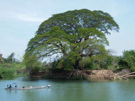 det: River Mekong at Don Det island on Laos Stock Photo