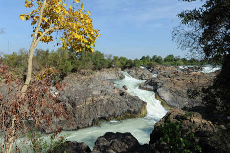 khon: Tat Somphamit waterfall at Kon Khon on Laos Stock Photo