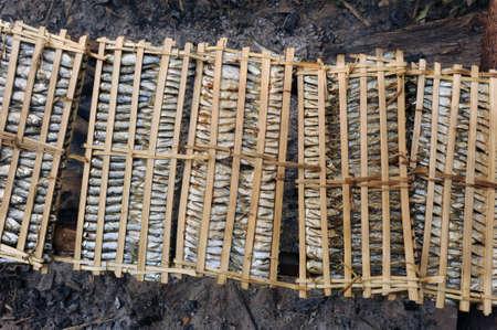 khong river: drying fish of river Mekong at Don Khong island Stock Photo