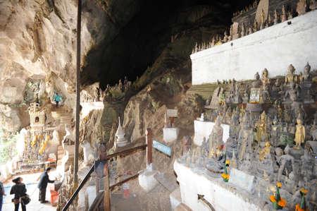 ou: Buddhist temple cave of Pak Ou at Luang Prabang on Laos