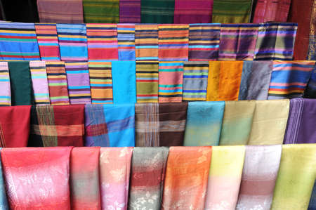 Silk foulard at the market on Laos Stock Photo - 15916857