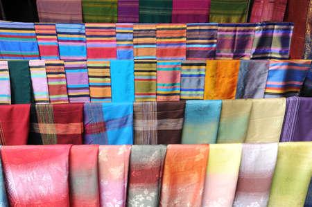 Silk foulard at the market on Laos Stock Photo - 15916857
