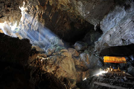 The cave of Pukham near Vang Vieng on Laos Stock Photo