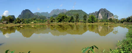 Rural landscape near Vang Vieng on Laos photo